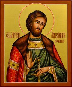Рукописная икона Александр Невский 16 (Размер 17*21 см)