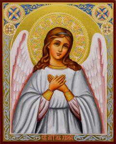 Рукописная икона Ангел Хранитель с резьбой 45