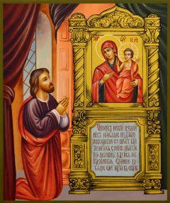 Рукописная икона Нечаянная Радость 2 (Размер 21*25 см)