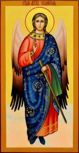 Рукописная икона Ангел Хранитель 49 (Размер 13*25 см)