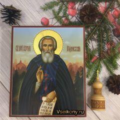 Рукописная икона Сергий Радонежский 14 (Размер 21*25 см)