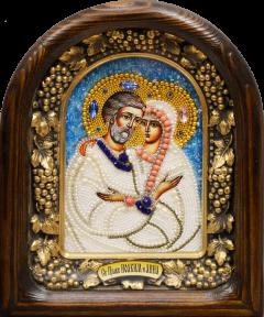 Икона из бисера Иоаким и Анна с жемчугом 2 (Размер 18*23 см)