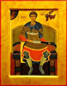 Рукописная икона Дмитрий Солунский (список иконы 12 века)