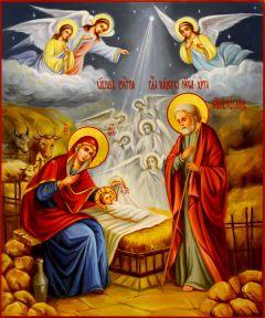 Рукописная икона Рождество Христово масло (Размер 21*25 см)