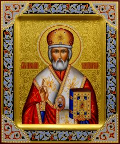 Рукописная икона Николай Чудотворец 40 (Размер 21*25 см)