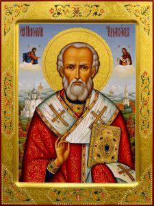 Рукописная икона Николай Чудотворец 41