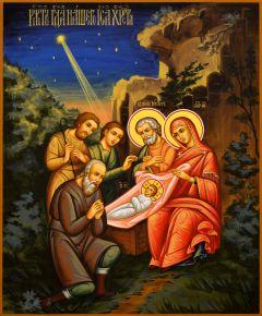 Рукописная икона Рождество Христово 6