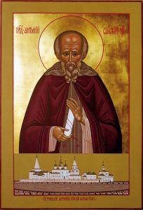 Рукописная икона Антоний Сийский