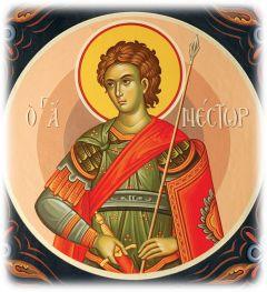 Рукописная икона Нестор Солунский
