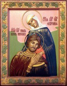 Резная икона Петр и Феврония 27