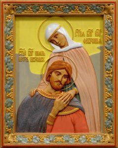 Резная икона Петр и Феврония 28 (Размер 26*32 см)