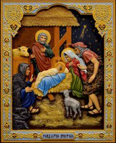 Резная икона Рождество Христово 2 (Размер 26*32 см)