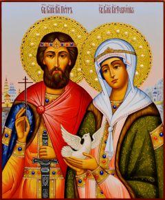 Рукописная икона Петр и Феврония с жемчугом 73