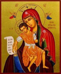 Рукописная икона Достойно Есть Милующая 6