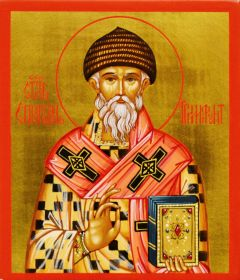 Рукописная икона Спиридон Тримифунтский 15 (Размер 9*10.5 см)