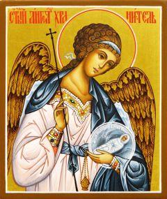 Рукописная икона Ангел Хранитель с Душой 58 (Размер 9*10.5 см)