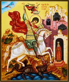 Рукописная икона Чудо Георгия о змие 2