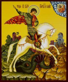 Рукописная икона Чудо Георгия о змии 16