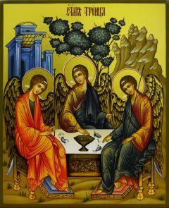 Рукописная икона Святая Троица 15 (Размер 17*21 см)