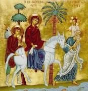 Рукописная икона Бегство в Египет