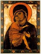 Рукописная икона Белозерская Божия Матерь
