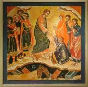 Рукописная икона Беседа Христа с богатым юношей