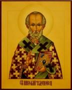 Рукописная икона Николай Чудотворец под старину 47 (Размер 17*21 см)