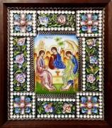 Икона из финифти Святая Троица