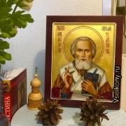 Рукописная икона Николай Чудотворец масло 43 (Размер 21*25 см)