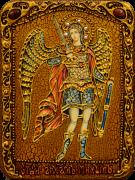 Икона ручной работы Архангел Михаил с натуральными камнями 2 (Размер 15*20 см)