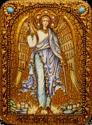 Икона ручной работы Ангел Хранитель с камнями 4