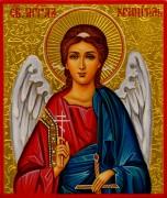 Рукописная икона Ангел Хранитель с резьбой 21 (Размер 9*10.5 см)