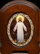 Икона из финифти Спаситель в белом хитоне (Размер 11*14 см)