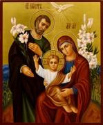 Рукописная икона Святое Семейство 9 (Размер 17*21 см)
