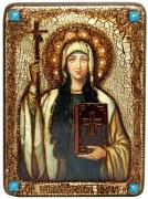 Икона ручной работы Святая Нина с камнями
