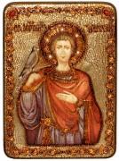Икона ручной работы Святой мученик Трифон с камнями
