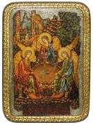 Икона ручной работы Святая Троица с камнями