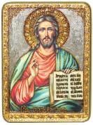 Икона ручной работы Спас Вседержитель с камнями
