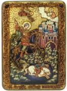 Икона ручной работы Чудо Дмитрия Солунского с камнями