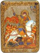 Икона ручной работы Чудо Святого Георгия о змие, с натуральными камнями