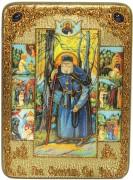 Икона ручной работы Серафим Саровский с Житием
