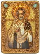 Икона ручной работы Иоанн Златоуст с камнями