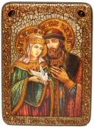 Икона ручной работы Петр и Феврония 2 с камнями
