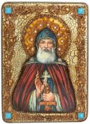 Икона Илия (Илья) Муромец Печерский с камнями