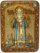 Икона ручной работы Алексий митрополит Московский с камнями