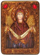 Икона ручной работы Покров с камнями