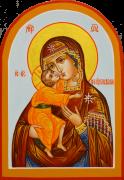 Рукописная икона Феодоровская арочная 8 (Размер 9*13 см)