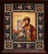 Икона из финифти Петр и Феврония 85 (Размер 14*16 см)