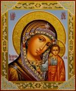 Рукописная Казанская икона с резьбой 33