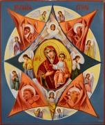 Рукописная икона Неопалимая Купина масло (Размер 21*25 см)